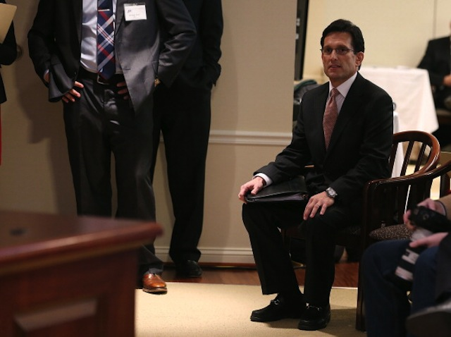 House Majority Leader Eric Cantor (R-VA) listens to his introduction before speaking at the American Enterprise Institute. (Mark Wilson/Getty Images)