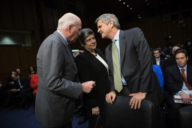 Sen. Patrick Leahy, Homeland Security Secretary Janet Napolitano and Steve Case at a Senate panel hearing on immigration, Feb. 13. (Allison Shelley/Getty Images)