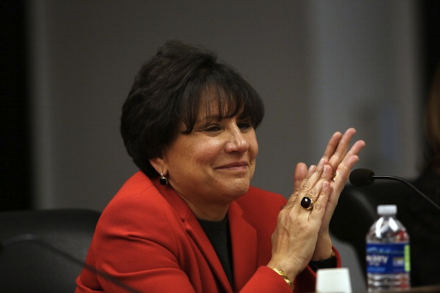 Penny Pritzker at a Chicago Public School Board of Education meeting. (Nancy Stone/Chicago Tribune/MCT via Getty)