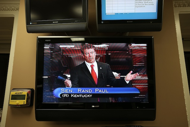 Kentucky Sen. Rand Paul during filibuster. (Alex Wong/Getty Images)