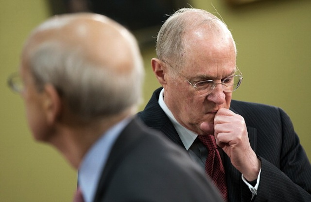 Supreme Court Justices Anthony Kennedy (R) and Stephen Breyer on Capitol Hill on March 14, 2013. (Win McNamee/Getty Images)
