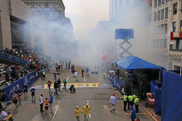 Site of the bombings at the Boston Marathon. (Boston Globe)