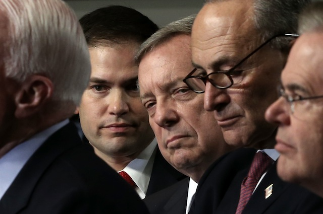 U.S. Sen. Marco Rubio, R-Fla., with other senators in the gang of eight. (Alex Wong/Getty Images)