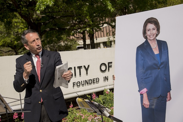 Mark Sanford used a picture of Nancy Pelosi as a stand-in for his opponent. (Richard Ellis/Getty Images)
