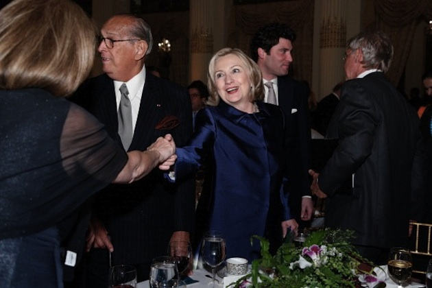 Hillary Clinton greets a woman at the Conservation International dinner in New York City, May 15. (JP Yim/Getty Images)