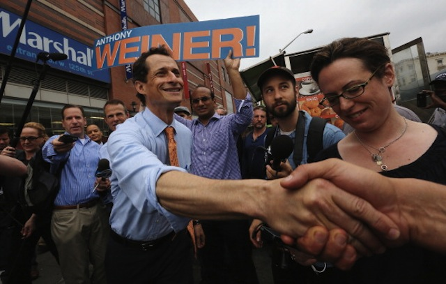 NYC mayoral hopeful Anthony Weiner courts voters in Harlem on May 23, 2013. (Mario Tama/Getty Images)