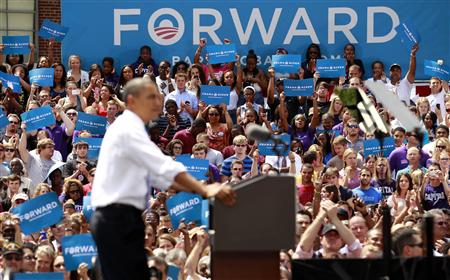 Supporters cheer as President Barack Obama speaks during a campaign event at Capital University in Columbus, Ohio. (Kevin Lamarque/Reuters)