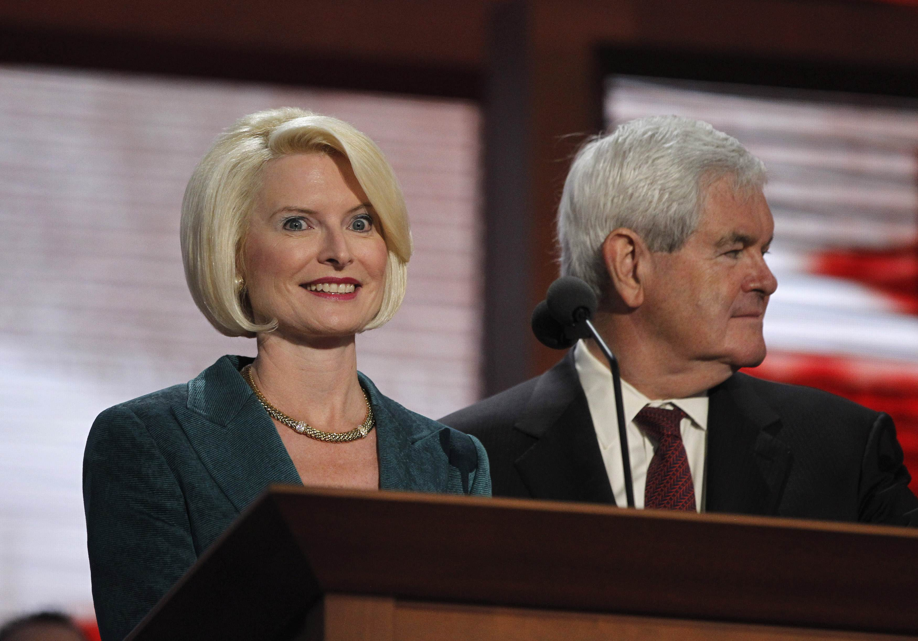 The Gingriches during a sound check at the RNC (Jason Reed/Reuters)