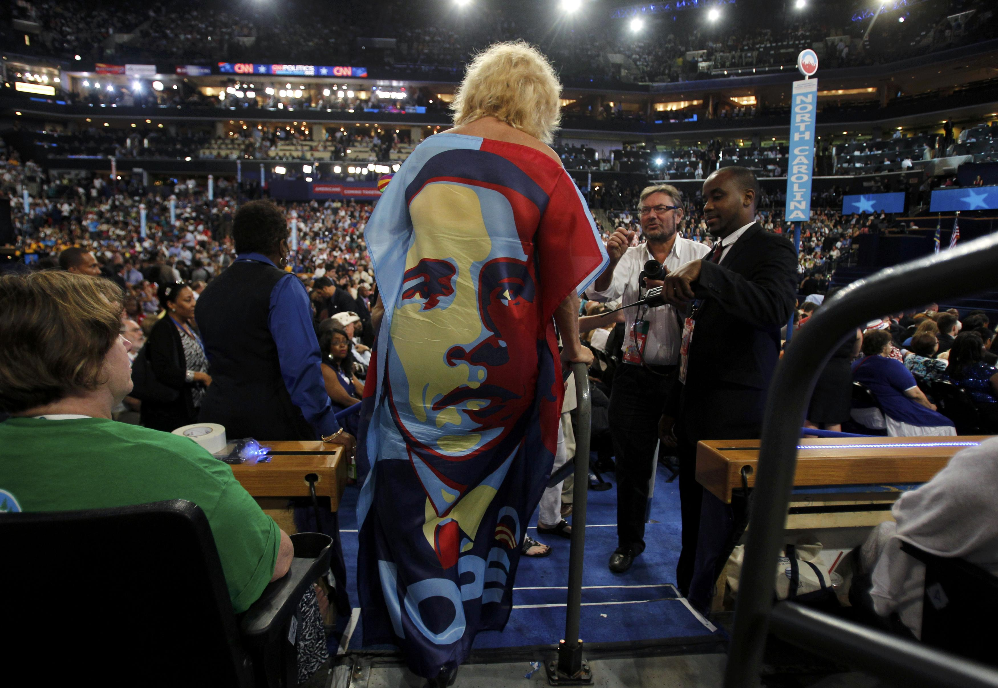 A delegate wears a Barack Obama dress. (Jessica Rinaldi/Reuters)