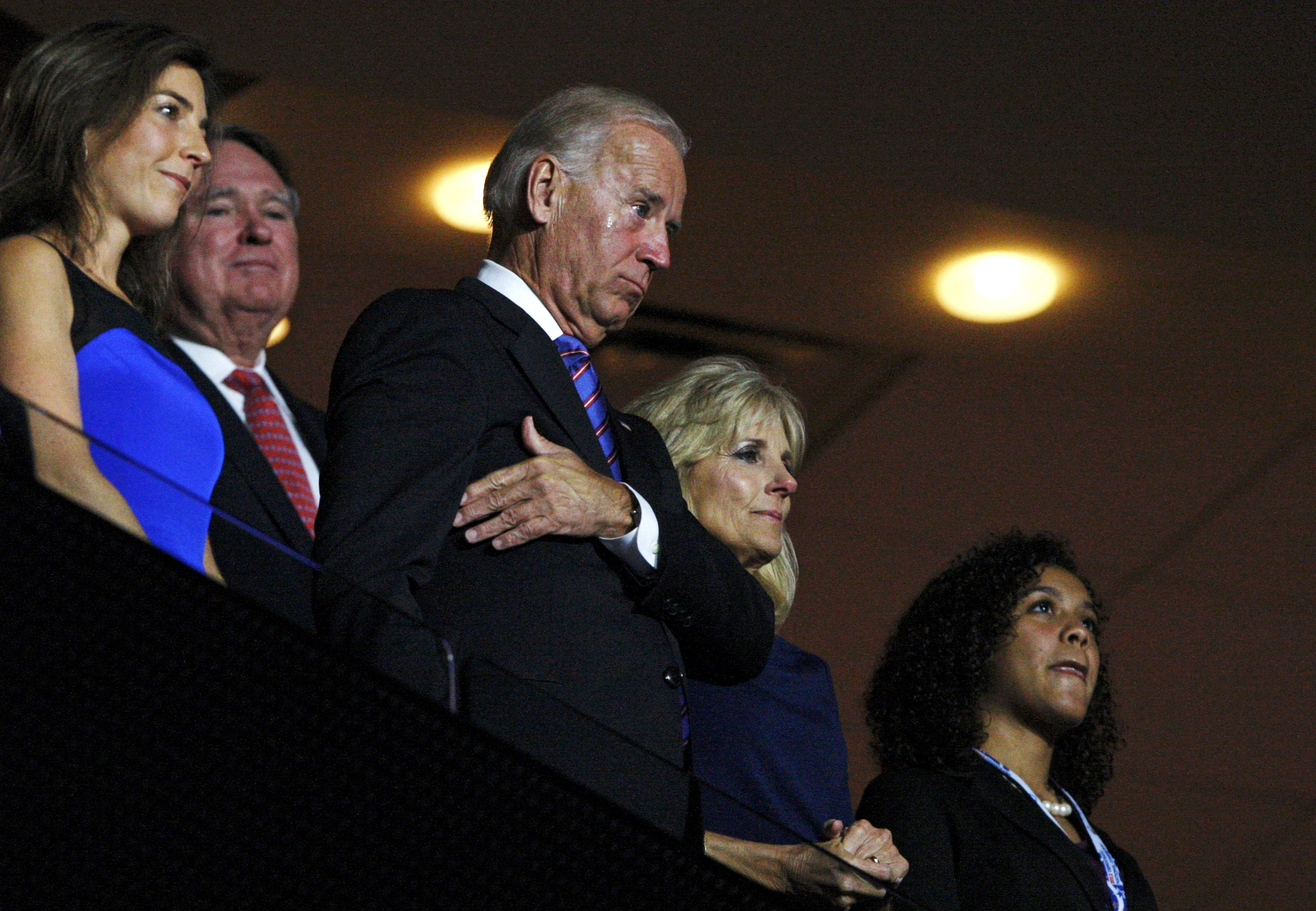 Vice President Joe Biden cries while he listens to his son Beau Biden renominate him. (Jonathan Ernst/Reuters)