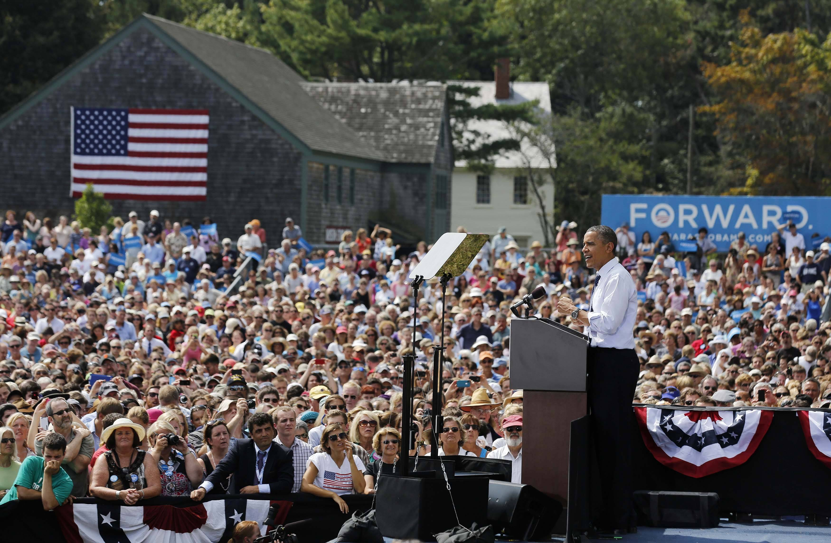 President Barack Obama speaks at a campaign event at the Strawbery Banke Museum in Portsmouth, New Hampshire. (Larry Downing/Reuters)