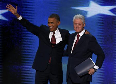 President Barack Obama and former President Bill Clinton at the Democratic convention in Charlotte, N.C. (Jason Reed/Reuters)