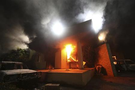 The U.S. Consulate in Benghazi is seen in flames on Sept. 11, 2012. (Esam Al-Fetori/Reuters)