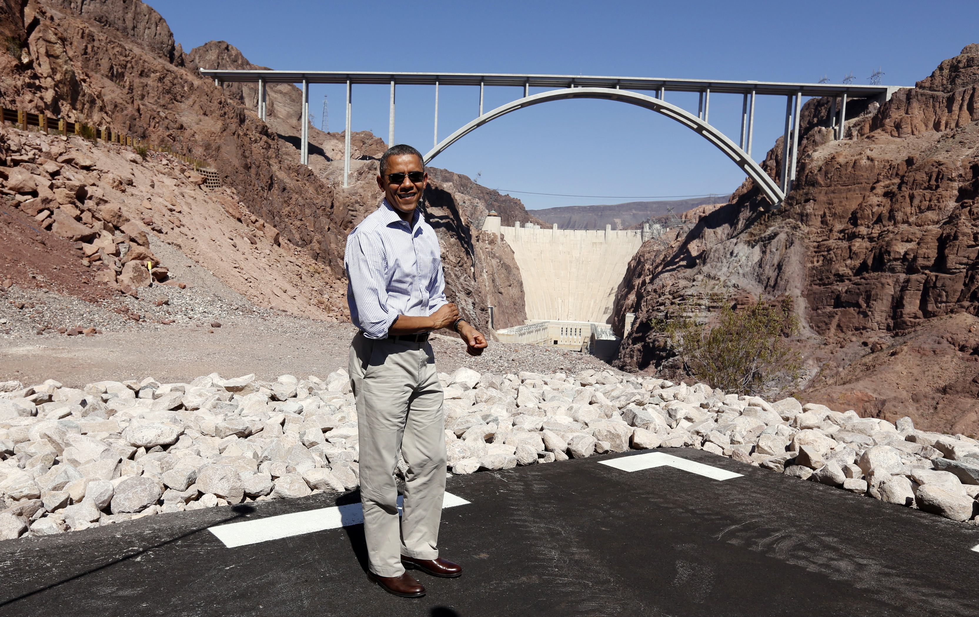 President Barack Obama visits the Hoover Dam (Kevin Lamarque/Reuters)