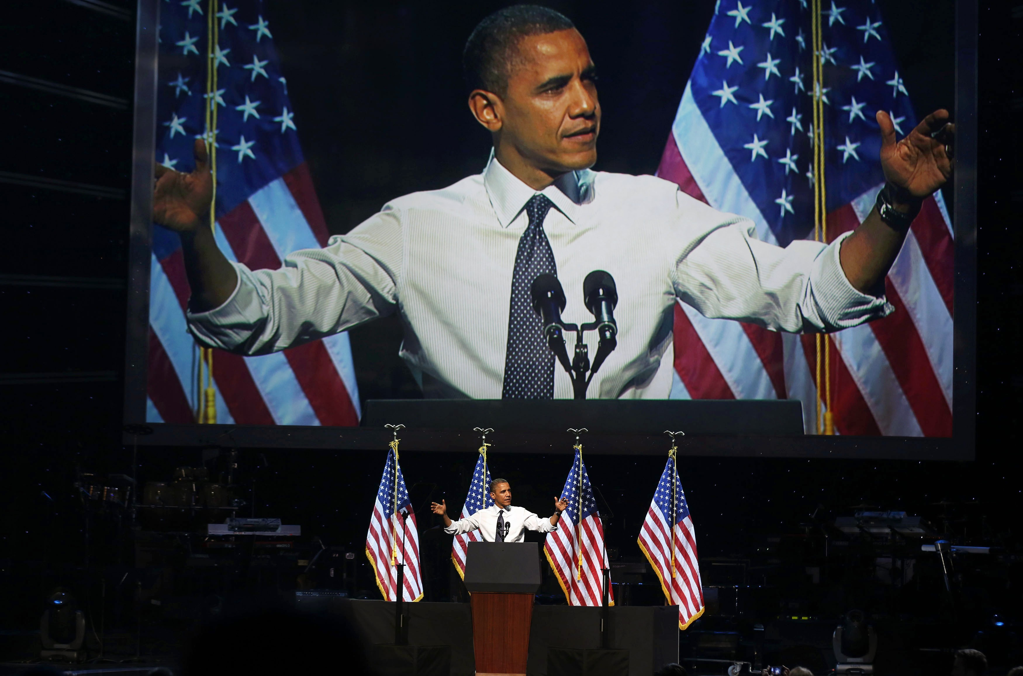 President Obama speaks at a campaign event in Los Angeles. (Larry Downing/Reuters)