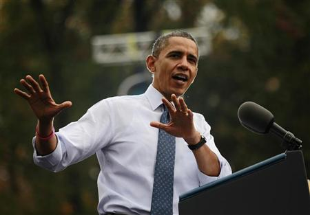 President Barack Obama addresses a campaign rally in Fairfax, Va. (Jason Reed/Reuters)