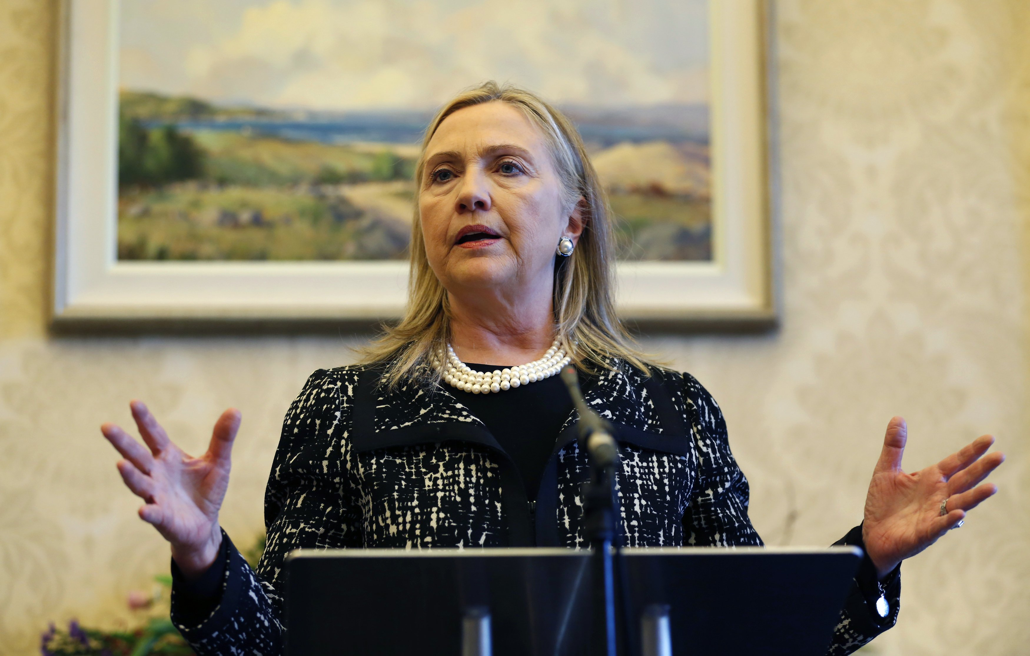 Secretary of State Hillary Clinton speaks during a news conference at Stormont Castle in Belfast December 7, 2012. (Kevin Lamarque/Reuters)