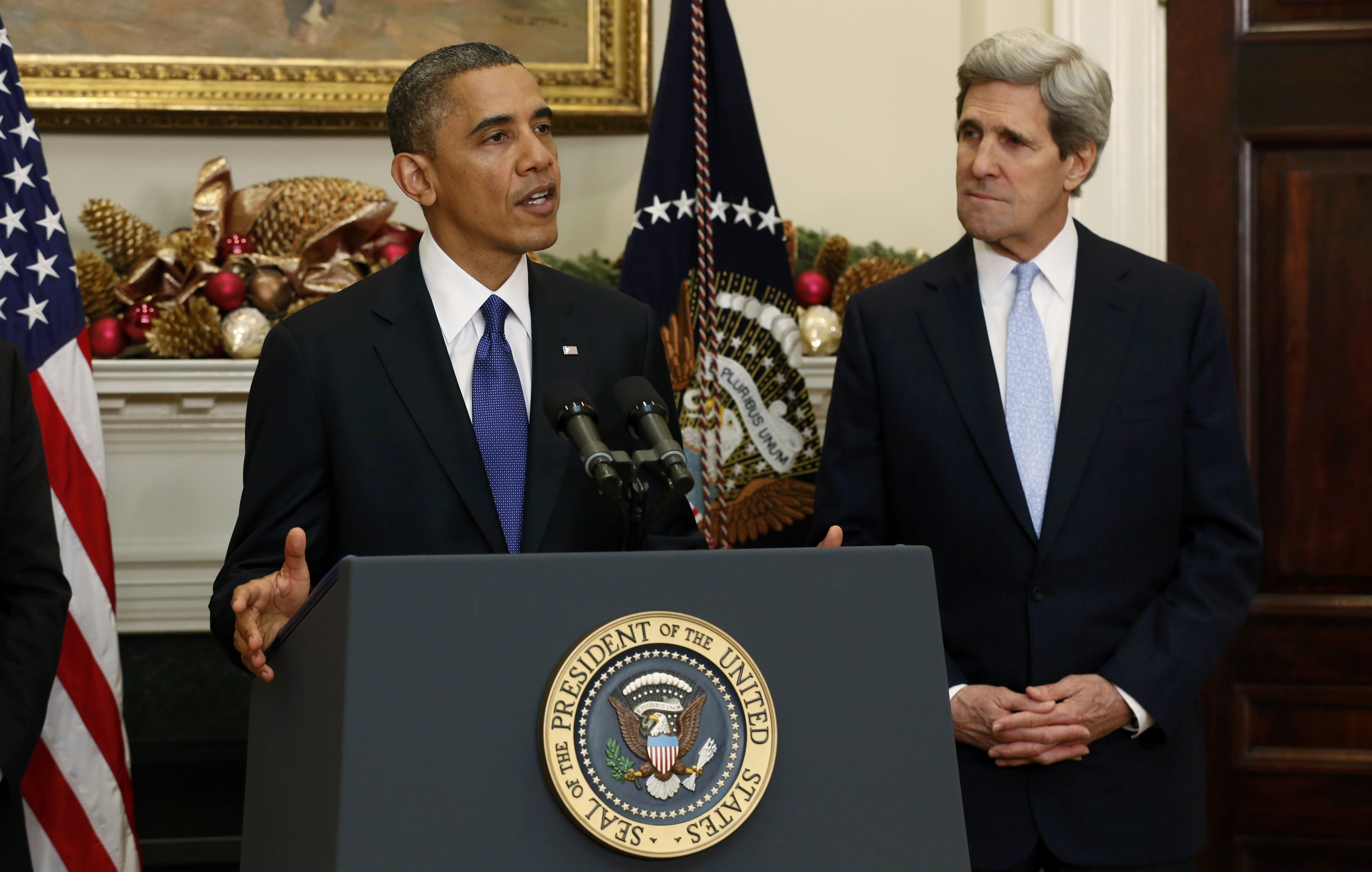 President Barack Obama announces the nomination of Sen. John Kerry (D-MA) as secretary of state. (Kevin Lamarque/Reuters)