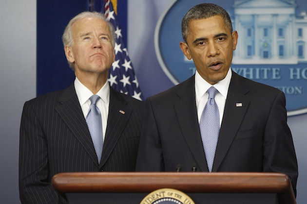 President Barack Obama delivers remarks alongside Vice President Joe Biden on Jan. 1. (Jonathan Ernst/Reuters)
