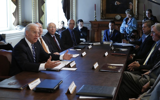 Vice President Joe Biden (left) speaks to sportsmen and wildlife interest groups on Jan. 10 before a meeting on curbing gun violence. (Kevin Lamarque/Reuters)