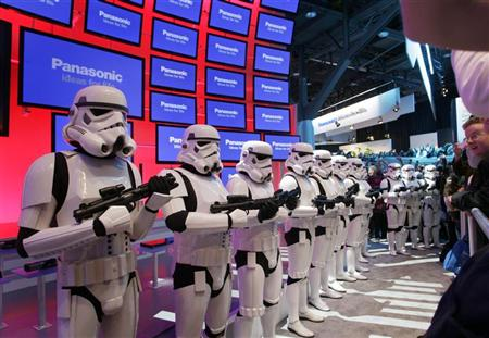 Imperial stormtroopers from the movie Star Wars take up positions at the Panasonic booth the Blu-ray release of the complete Star Wars movie saga during the first day of the 2011 International Consumer Electronics Show (CES) in Las Vegas. (Steve Marcus/Reuters)