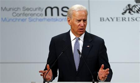 Vice President Joe Biden at the 49th Conference on Security Policy in Munich on Feb. 2, 2013. (Michael Dalder/Reuters)