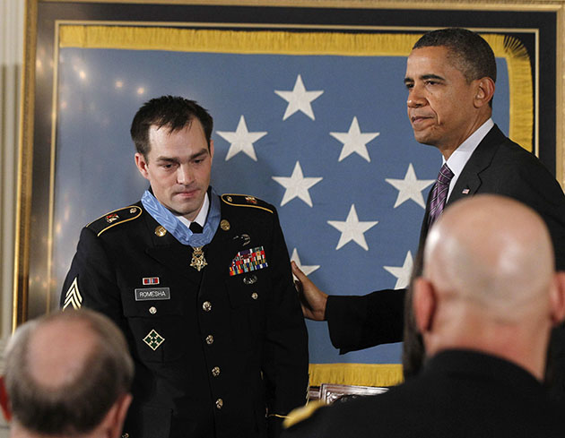 Clinton Romesha receives the Medal of Honor on Feb. 11. (Jason Reed/Reuters)