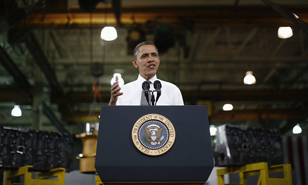 President Barack Obama speaks at Linamar Corp. on Wednesday. (Jason Reed/Reuters)