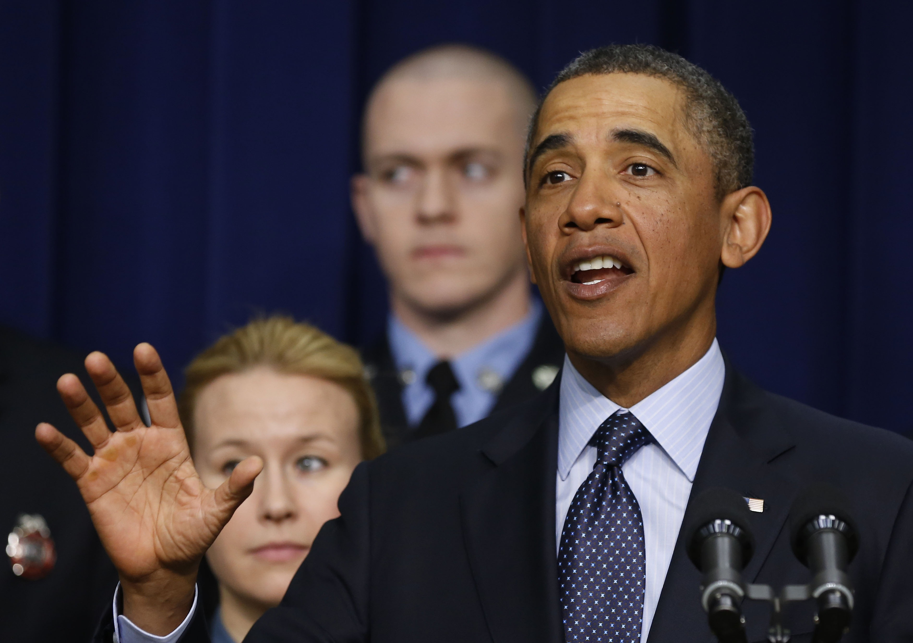 President Barack Obama talks against automatic spending cuts scheduled to take effect next week. (Larry Downing/Reuters)
