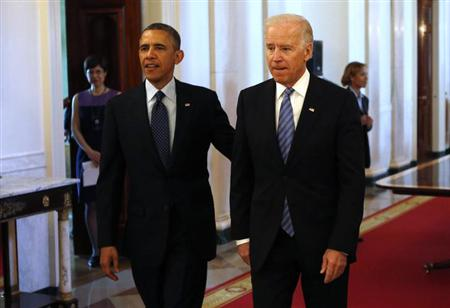 President Barack Obama and Vice President Joe Biden at the White House on April 5, 2013. (Kevin Lamarque/Reuters)