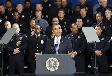 President Barack Obama gives a speech on gun violence in Denver, Colo., April 3. (Kevin Lamarque/Reuters)