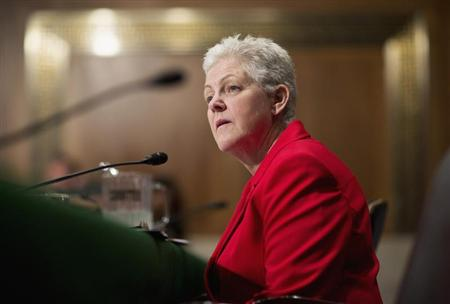 Gina McCarthy testifies before a Senate committee on April 11. (Joshua Roberts/Reuters)