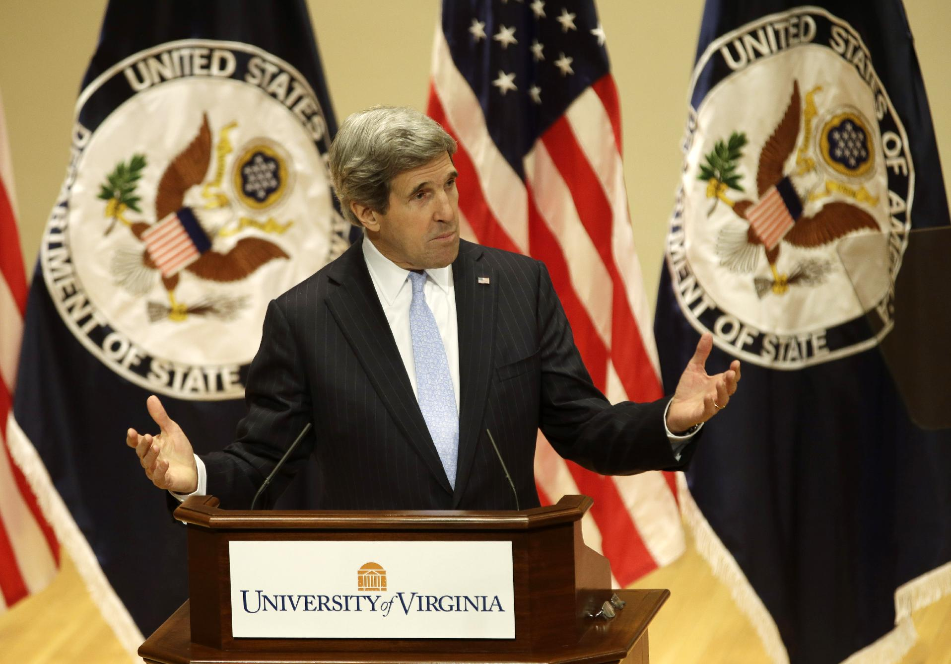 Secretary of State John Kerry delivers his first foreign policy speech, Wednesday, Feb. 20, 2013, at the University of Virginia in Charlottesville, Va. (Steve Helber/AP)