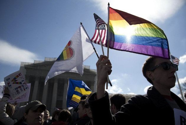 Gay marriage supporters outside the Supreme Court (Carolyn Kaster/AP)