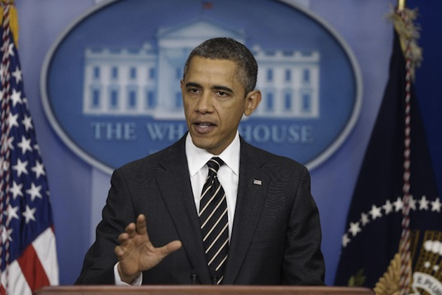 President Barack Obama speaks from the White House briefing room on Tuesday. (Charles Dharapak/AP)