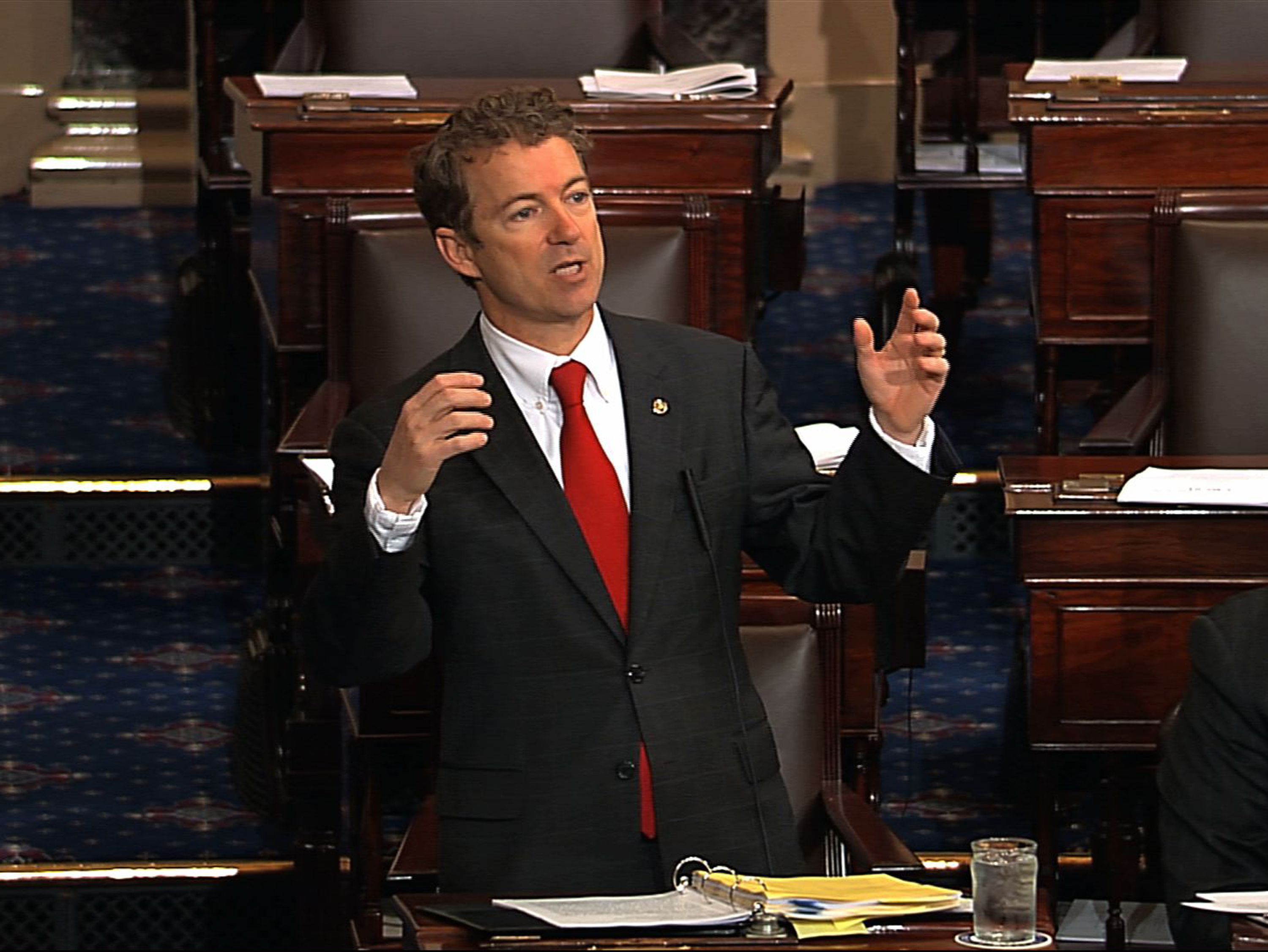 This video frame grab provided by Senate Television shows Sen. Rand Paul, R-Ky. engaged in his filibuster on the floor of the Senate on Capitol Hill in Washington, Wednesday, March 6, 2013. (Senate Television via AP)