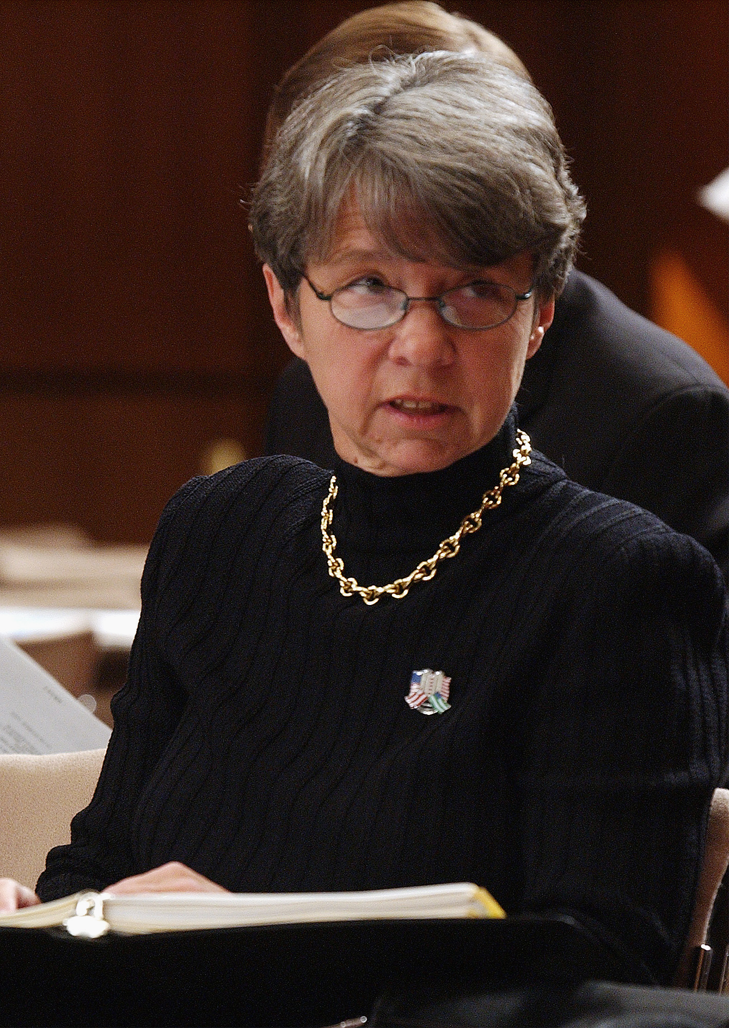 Mary Jo White, former U.S. Attorney for the Southern District of New York, appearing on Capitol Hill in 2002 (Dennis Cook/AP)