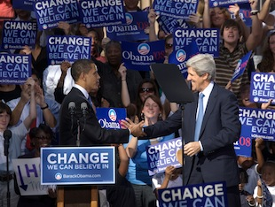 In this picture from 2008, then-Sen. Barack Obama campaigns in South Carolina with Democratic Sen. John Kerry. (Richard Ellis/Getty Images)