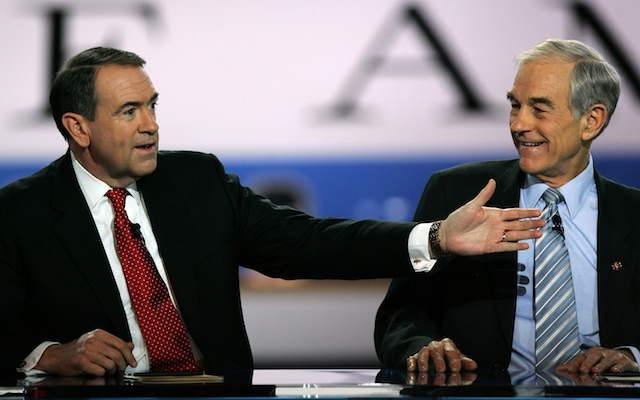 Mike Huckabee and Ron Paul in 2008. (David McNew/Getty Images)