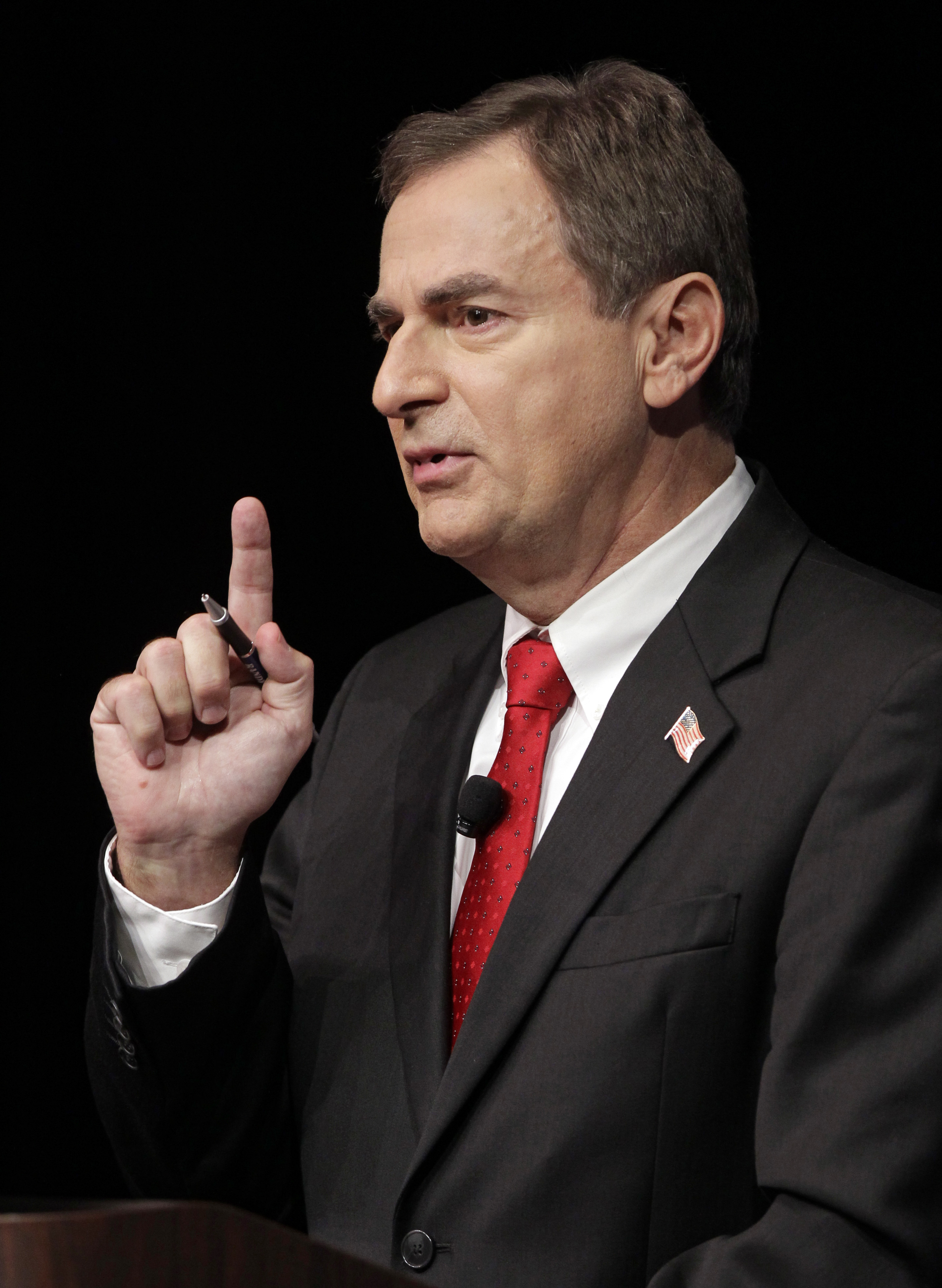 Richard Mourdock, GOP candidate for Indiana's U.S. Senate seat, in a debate with Democrat Joe Donnelly and Libertarian Andrew Horning (Michael Conroy/AP)