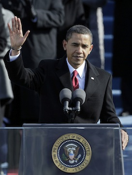 U.S President Barack Obama waves after giving his inaugural address four years ago. (Alex Wong/Getty Images)