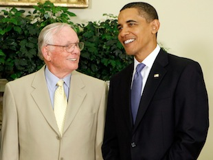 President Barack Obama and Neil Armstrong in the White House's Oval Office in July 2009 (Chip Somodevilla/Getty Images)