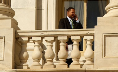 Then-congressman Artur Davis standing on a balcony of the U.S. Capitol in March 2010. (Chip Somodevilla/Getty Images)