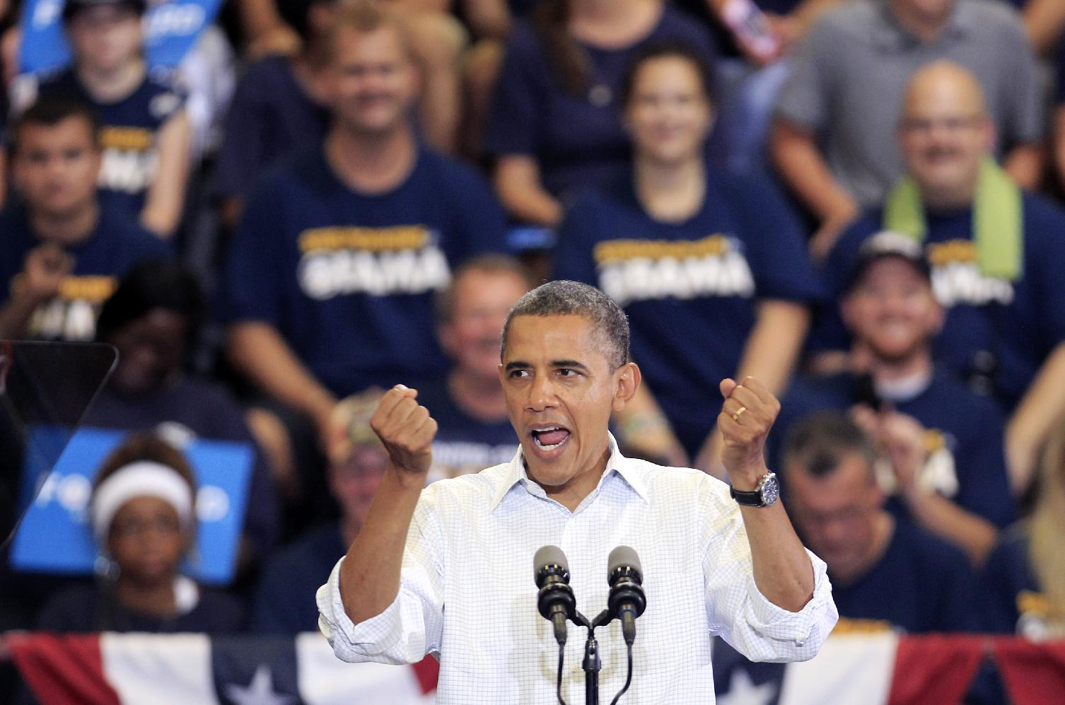 President Barack Obama speaks during a Sept. 3 campaign rally in Toledo, Ohio (Tony Dejak/AP)