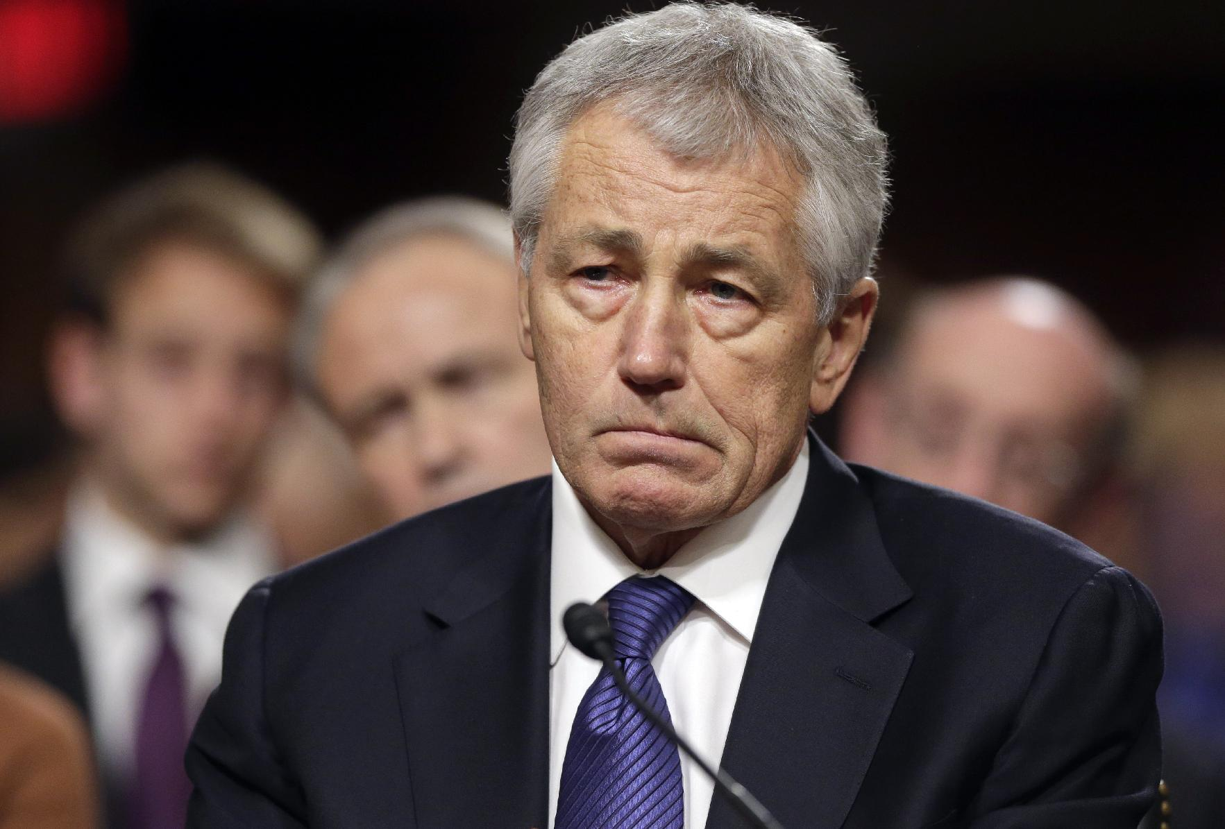 Republican Chuck Hagel testifies before the Senate Armed Services Committee on Jan. 31, 2103. (J. Scott Applewhite/AP)