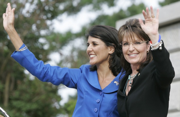 Former Alaska Gov. Sarah Palin and South Carolina Gov. Nikki Haley (Mary Ann Chastain/AP)