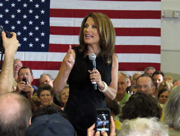 Bachmann speaks in Sarasota, Fla. Sunday (Brendan Farrington/AP)