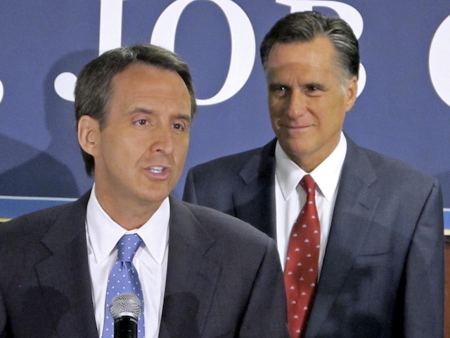 Tim Pawlenty and Mitt Romney (Bruce Smith/AP)