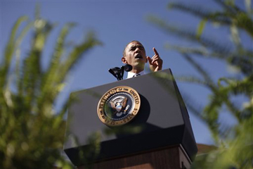 Obama addresses an audience in Denver, Colo. Tuesday (Pablo Martinez Monsivais/AP)