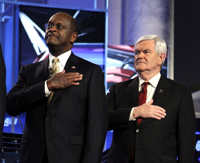 Cain and Gingrich before a Republican debate in November (Evan Vucci/AP)